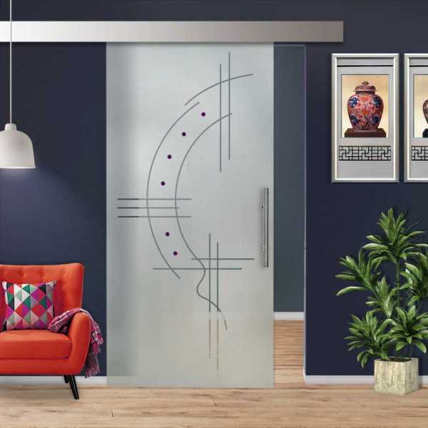 Glass Barn Door (Model SGD-ALU100-0235 Semi-Private)