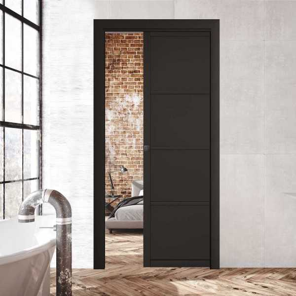 Industrial Style Pocket Door 4 Panels with a Carbon Square Grip Handle