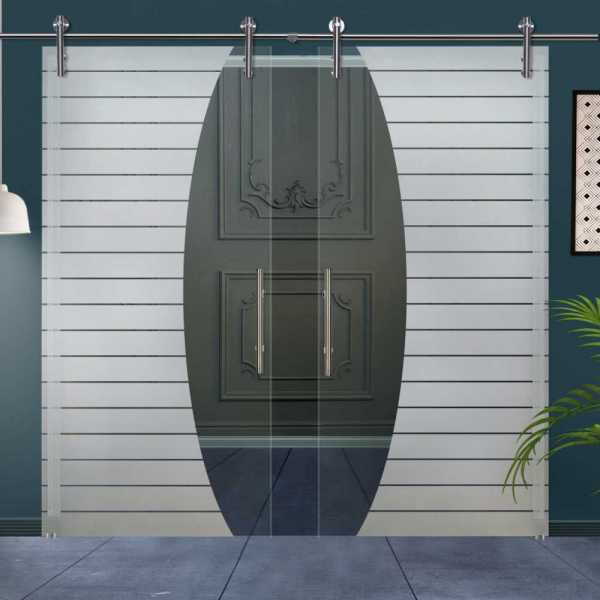Double Glass Barn Door (Model DSGD-V1000-0044 Semi-Private)