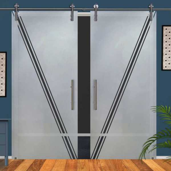 Double Glass Barn Door (Model DSGD-V1000-0059 Semi-Private)