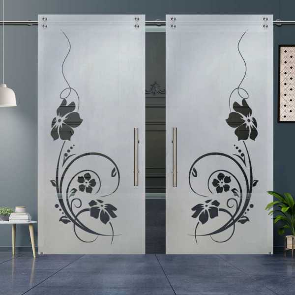 Double Sliding Glass Barn Door DSGD-V2000-0027
