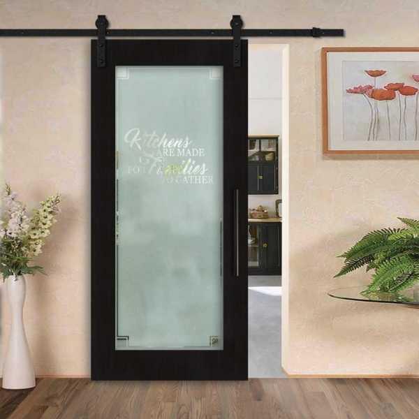 Veneered Pantry Room Sliding MDF Wood Barn Door with Glass Insert VWGD-0033
