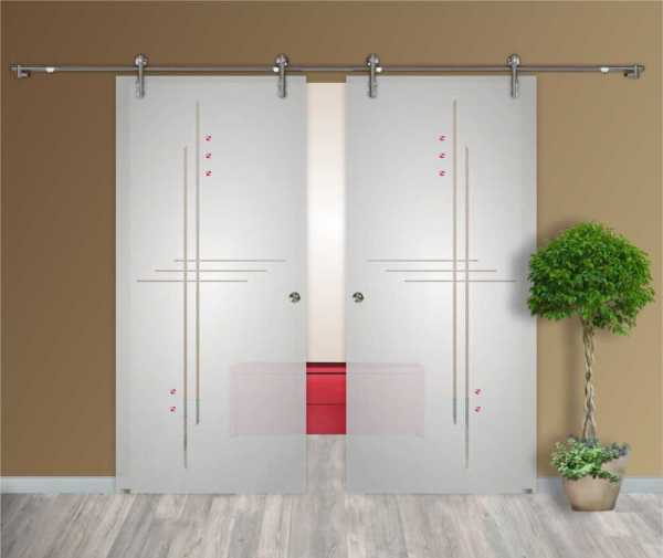 """2 Leaf Glass Barn Doors, 31""""x97"""", semi private with recessed grip handle hardware included"""