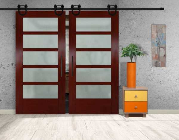 "5 Lite Mahogany Double Sliding Barn Door, 2x 35"" x 96""=(70"" x 96"") and Full Private Design"