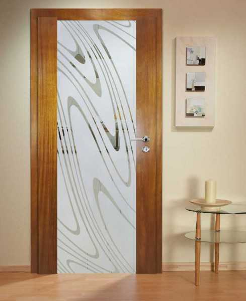 Solid Wood Hinged Door with Glass Insert HWDI-0027