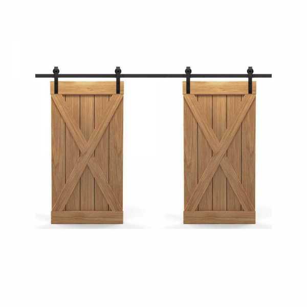 Real Solid Hardwood Double X Double Sliding Barn Door WD-0022