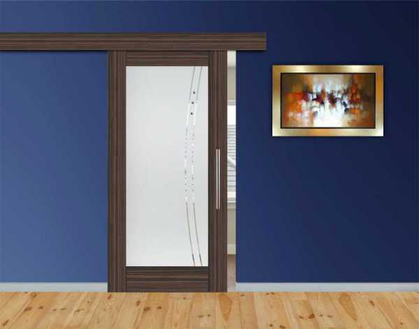 Sliding Barn Door Ebony-Wood Veneered + Frosted + Clear Lines Design