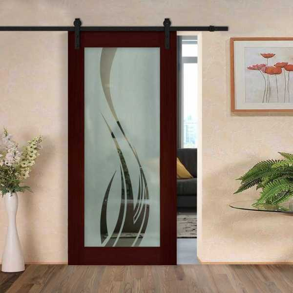 """48"""" x 84"""" Real Solid Hardwood Sliding Barn Door with Glass WGD-0024 Semi-Private"""