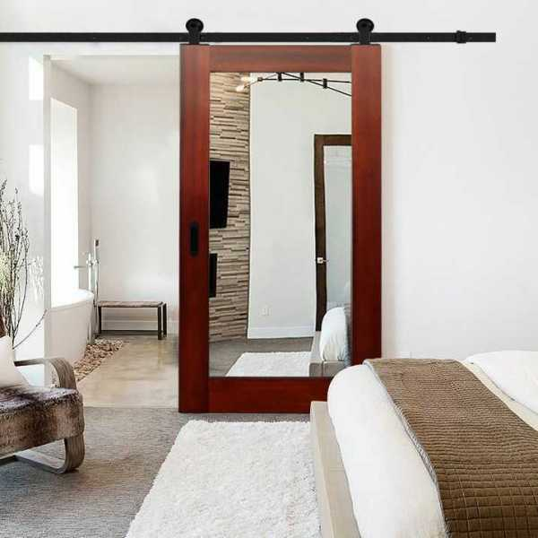"""Solid Mahogany Sliding Barn Door with 2 Mirrors Insert, 34""""x81"""", + Carbon Steel Hardware included"""
