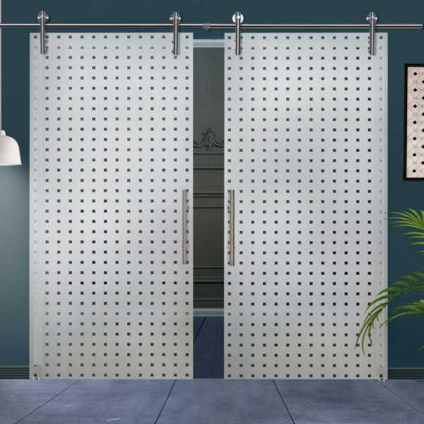 Double Sliding Glass Barn Door DSGD-V1000-0008