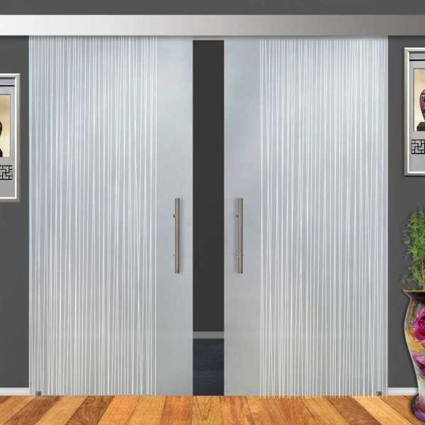 """Double Sliding Barn Glass, 2x 28""""x81""""=(56""""x81"""") and Full Private Design (15% OFF)"""