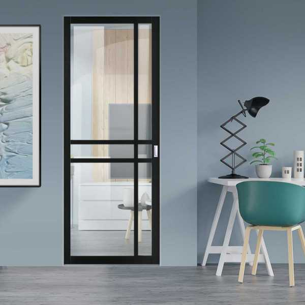 Industrial Style Pocket Door with Clear Glass 6 Panels & Rectangular Stainless Steel Grip Handle