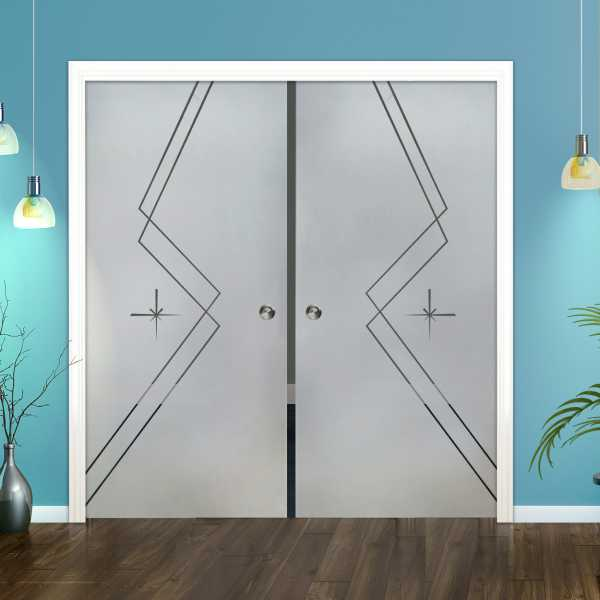 Double Pocket Glass Barn Door (Model DPSGD-0090 Semi-Private)_Recessed Grip Handle