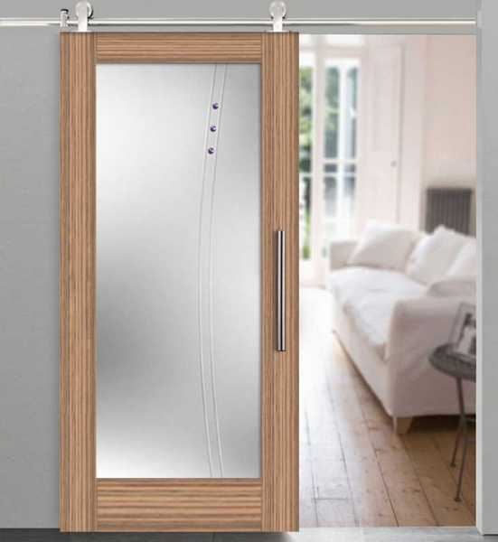 Veneer Wood Glass Barn Door WGD-0001