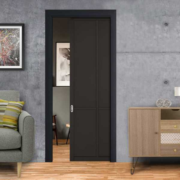Industrial Style Pocket Door 4 Panels with a Oval Stainless Steel Grip Handle