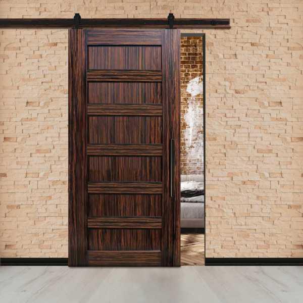 Ebony Flush Sliding Barn Door with Center Brace + Carbon Steel Hardware.