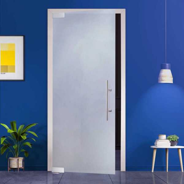 Pivoting frosted glass door, with self-closing pivoting hinges with pull handle (open to Left)