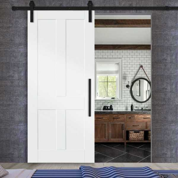 4 vertical panels sliding MR MDF shaker barn door with carbon steel sliding system