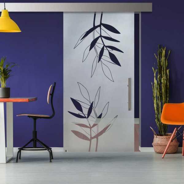 Glass Barn Door (Model SGD-ALU100-0327 Semi-Private)