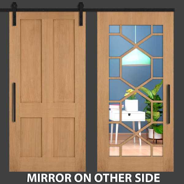 Hybrid Mirrored Barn Door with Hexagon Framed WMD-0001