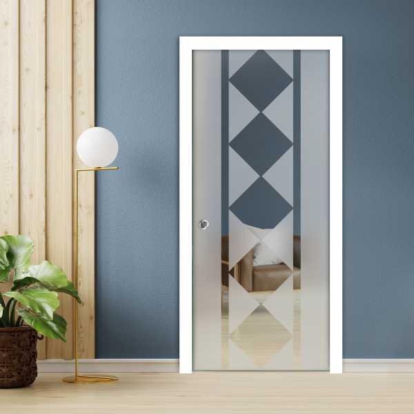 Pocket Sliding Glass Door with Frosted Design PSGD-0093