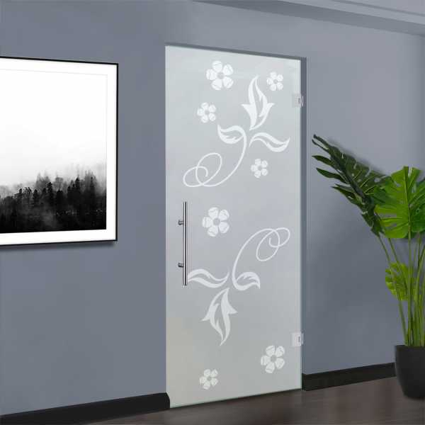 """Pivot Glass Door, 34"""" x 80"""", Thichness: 8 mm, Opening: Right and Full Private Design (30% OFF)"""