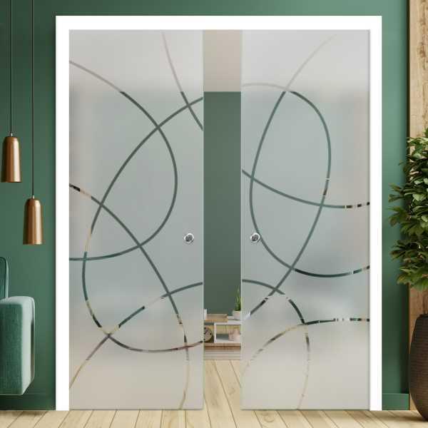 Double Pocket Glass Barn Door (Model DPSGD-0041 Semi-Private)_Recessed Grip Handle