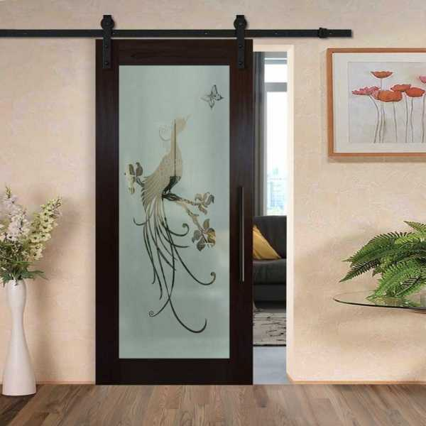 Hardwood Mahagony Sliding Barn Door with Glass Insert Included Hardware WGD-0036