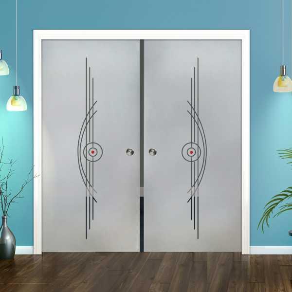 Double Pocket Glass Barn Door (Model DPSGD-0096 Semi-Private)_Recessed Grip Handle