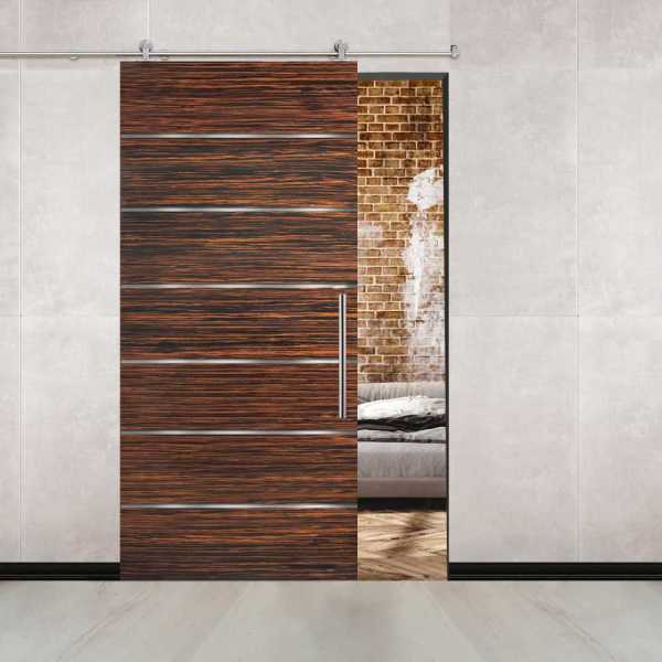 Ebony Flush Sliding Barn Door with 6 Stainless Steel Strips + Stainless Steel Hardware and Handle
