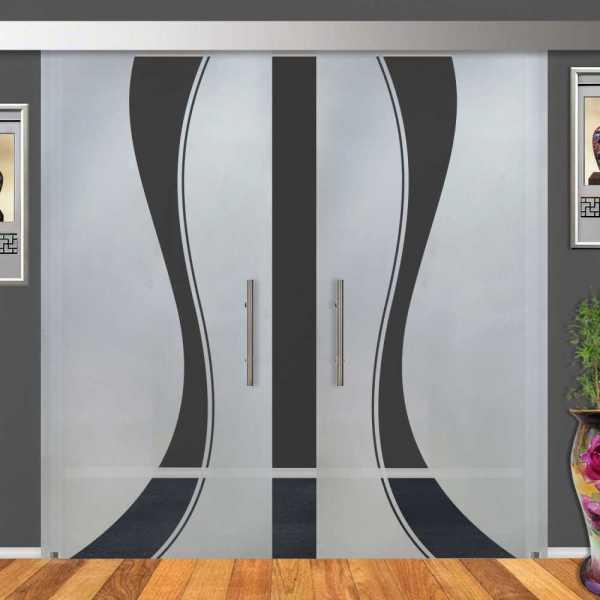 Double Sliding Barn Glass Door DSGD-ALU100-0017