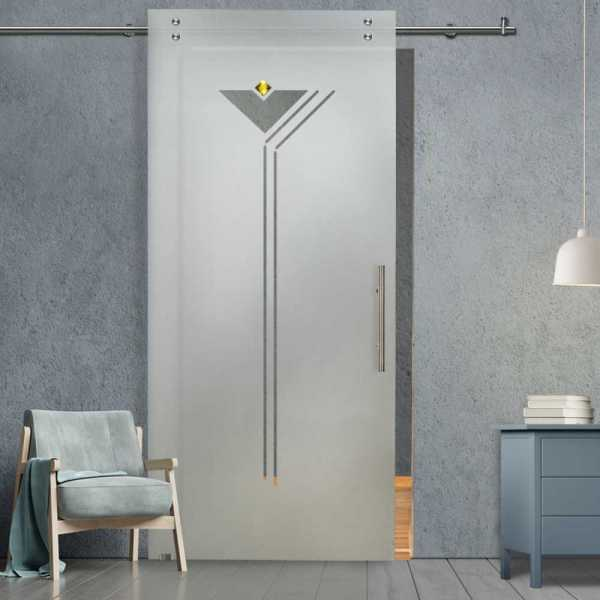 Single Sliding Barn Glass Door SGD-V2000-0233