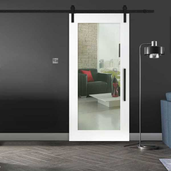 Clear 1 Lite Sliding Barn Door with Glass Insert (open to Left)