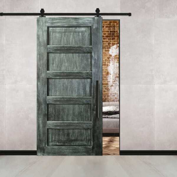 Vintage Ranch Sliding Barn Door with 4 Center Brace & Carbon Steel Hardware.