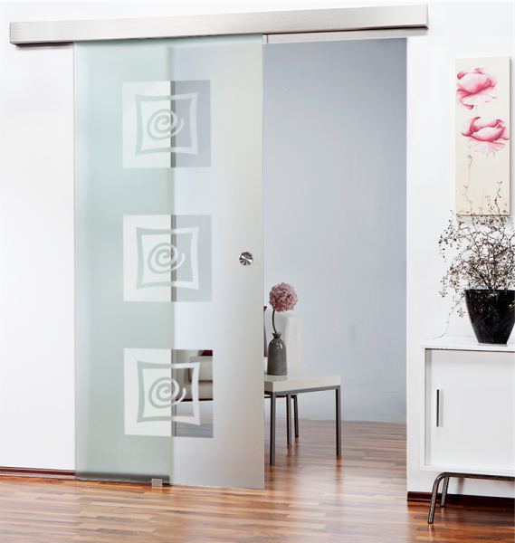 Sliding Glass Barn Door SGD-ALU100-0145 semi-private