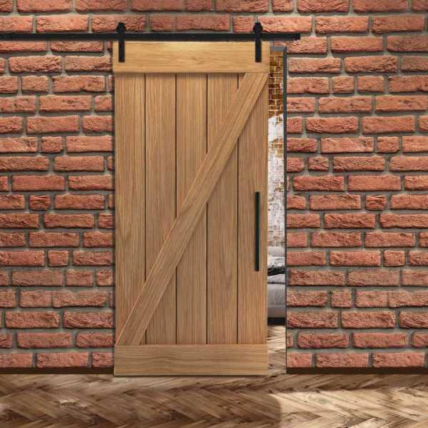 Real Solid Hardwood Z Sliding Barn Door WD-0011