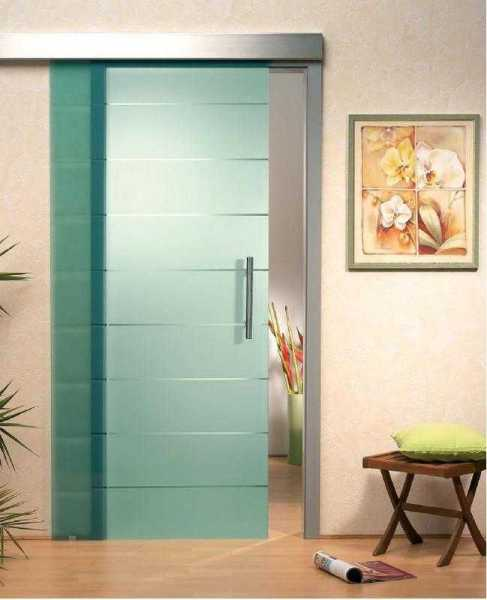 "Sliding Glass Barn Door Blue-Green Glass + Frosted Design & Clear Lines 28""x82"" Inches"