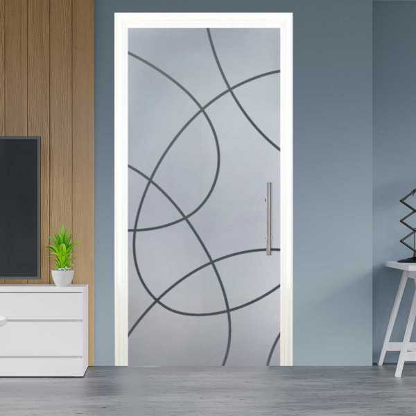 Sliding Pocket Glass Door with Frosted Design and Hardware PSGD-0009