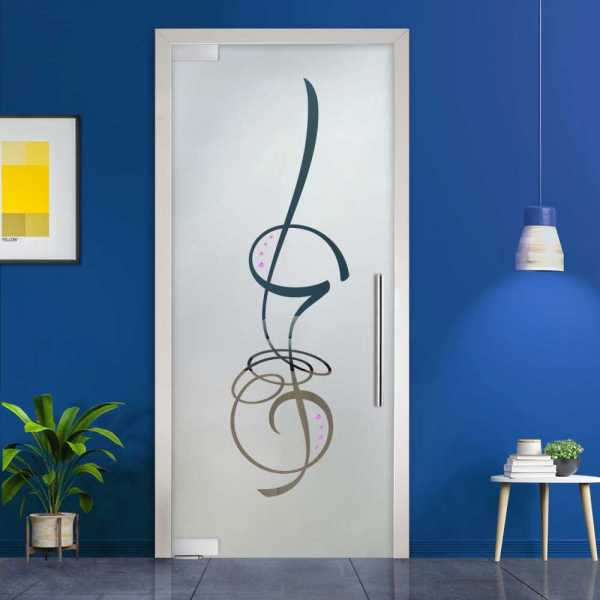 Pivot Glass Door (Model PD-0049 Semi-Private) with Handle Bar