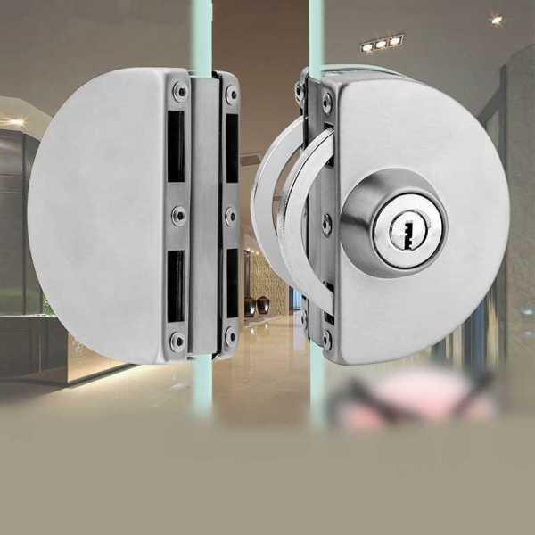 Stainless Steel Double Door Glass Lock
