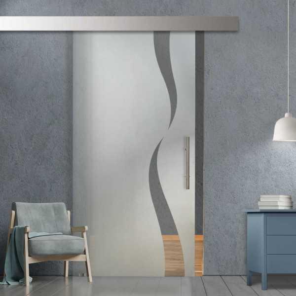 Glass Barn Door (Model SGD-ALU100-0088 Semi-Private)
