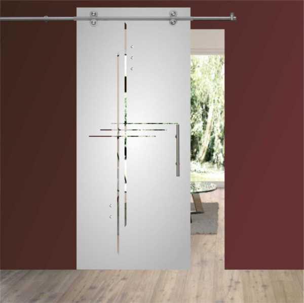 Sliding Glass Barn Door SGD-V2000-0072 semi-private