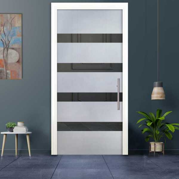 Sliding Pocket Glass Door with Frosted Design and Hardware PSGD-0017