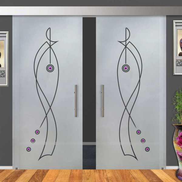 2-Leaf Glass Barn Door (Model DSGD-ALU100-0040 Semi-Private)