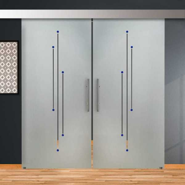 Double Sliding Barn Glass Door DSGD-ALU100-0199