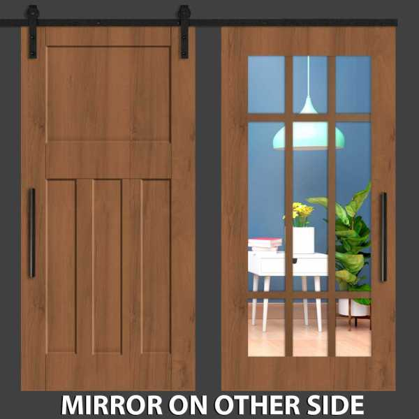 Hybrid with Four panel Mirrored Barn Door and Cross Line Frame