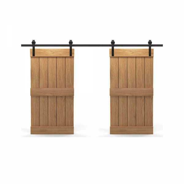 Real Solid Hardwood Centre Brace Double Sliding Barn Door WD-0023