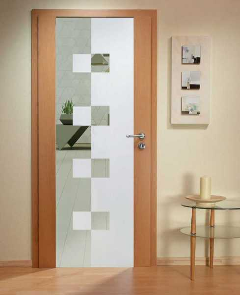 Solid Wood Hinged Door with Glass Insert HWDI-0012