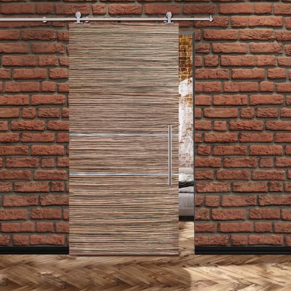 Veneer Sliding Barn Door with 2 Stainless Steel Strips + Stainless Steel Hardware and Handle