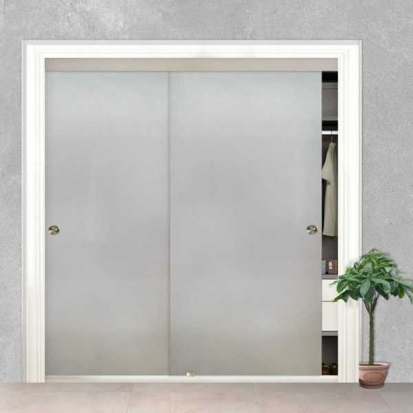 Frosted Frameless 2 Leaf Sliding Closet Bypass Glass Door with Hardware